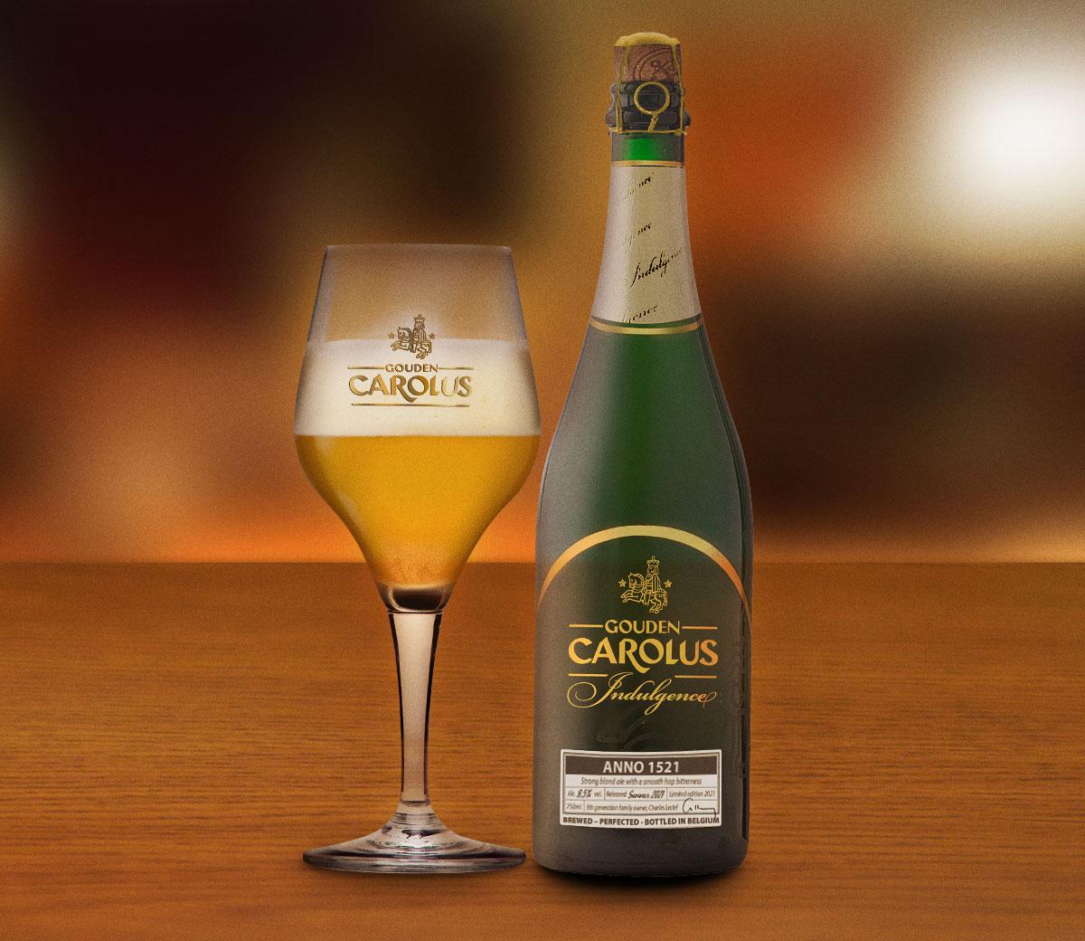 Gouden Carolus Indulgence - fles met glas