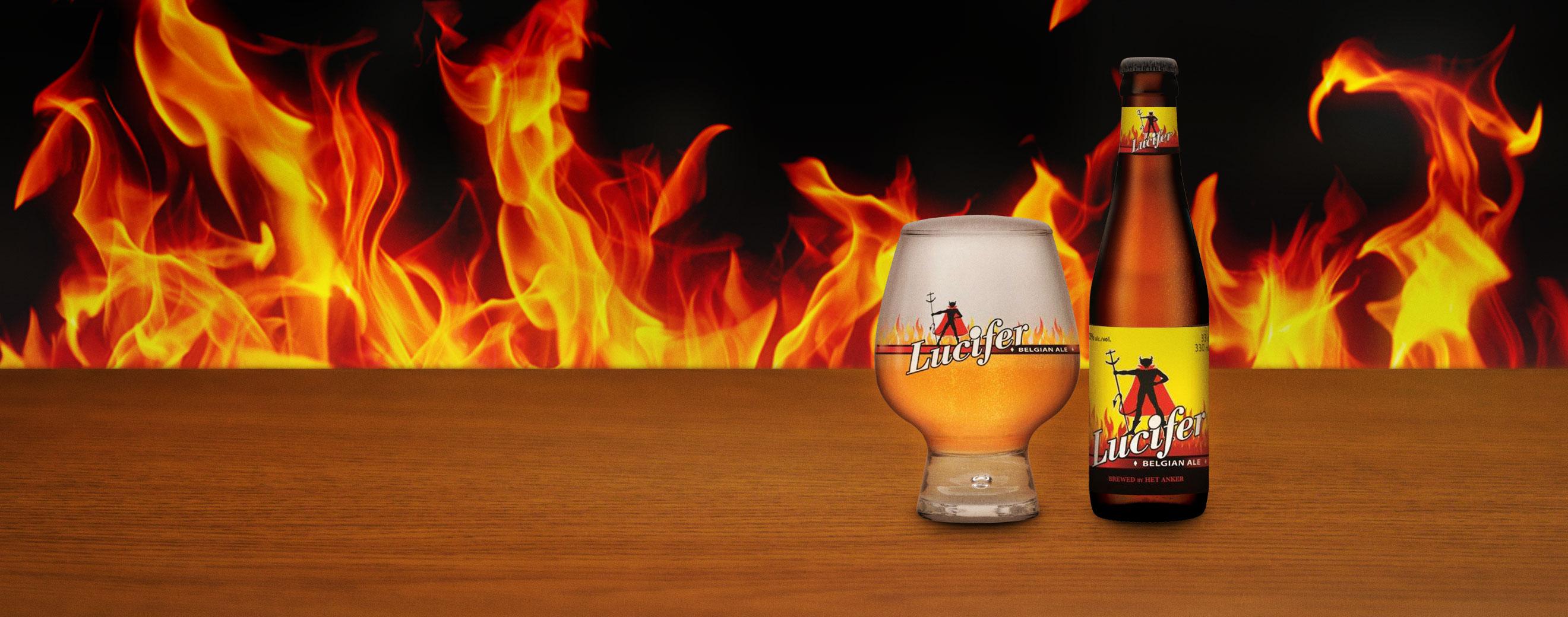 Lucifer bier met glas