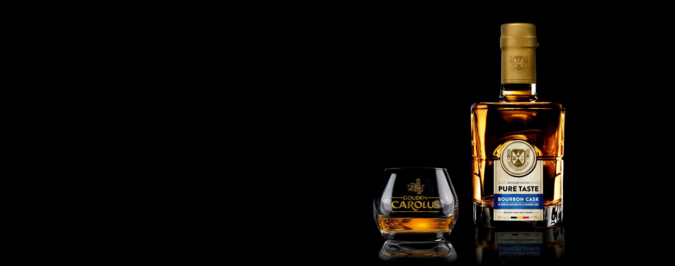 Pure Taste - Bourbon Cask Whisky Stokerij De Molenberg met glas