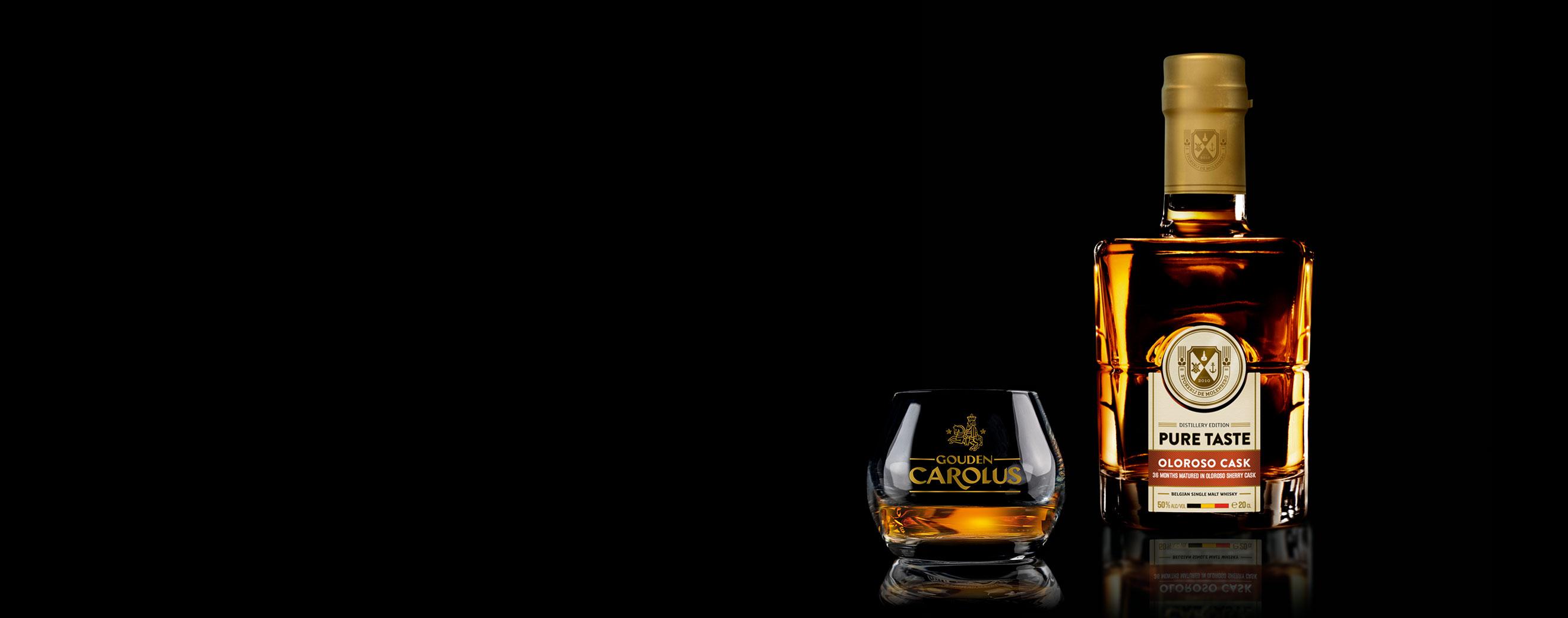 Pure Taste - Oloroso Cask Whisky Stokerij De Molenberg met glas