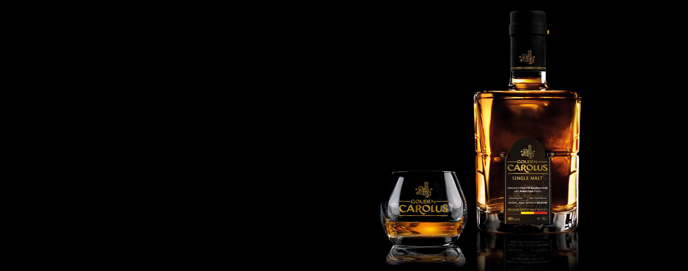 Gouden Carolus Single Malt Whisky Stokerij De Molenberg met glas