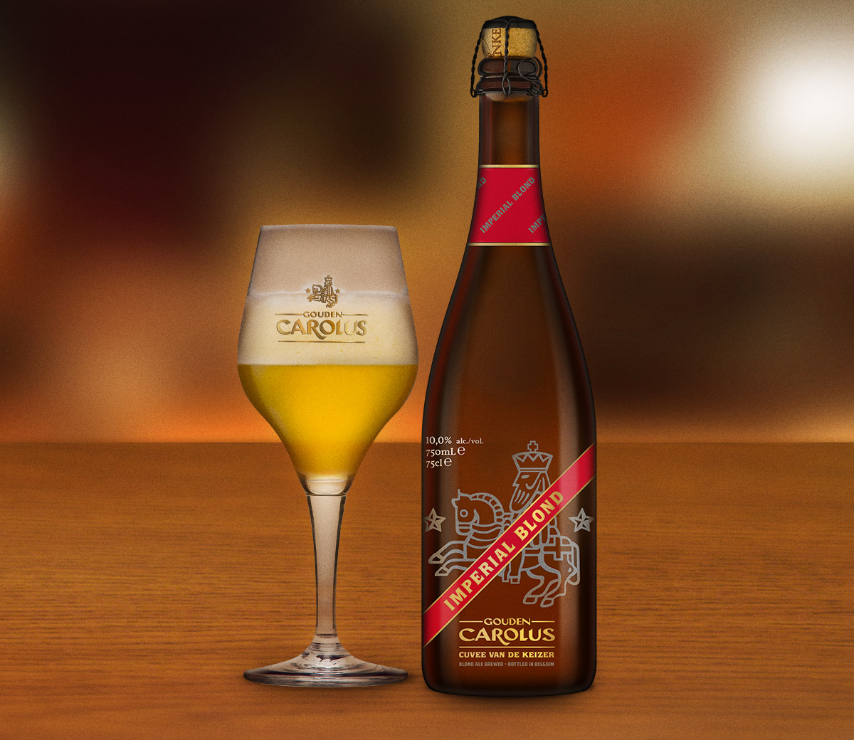 Gouden Carolus Cuvée van de Keizer Imperial Blond met glas