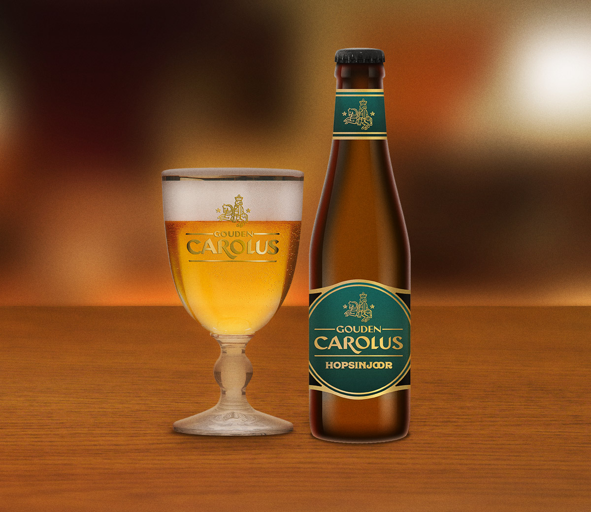 Gouden Carolus Hopsinjoor met glas