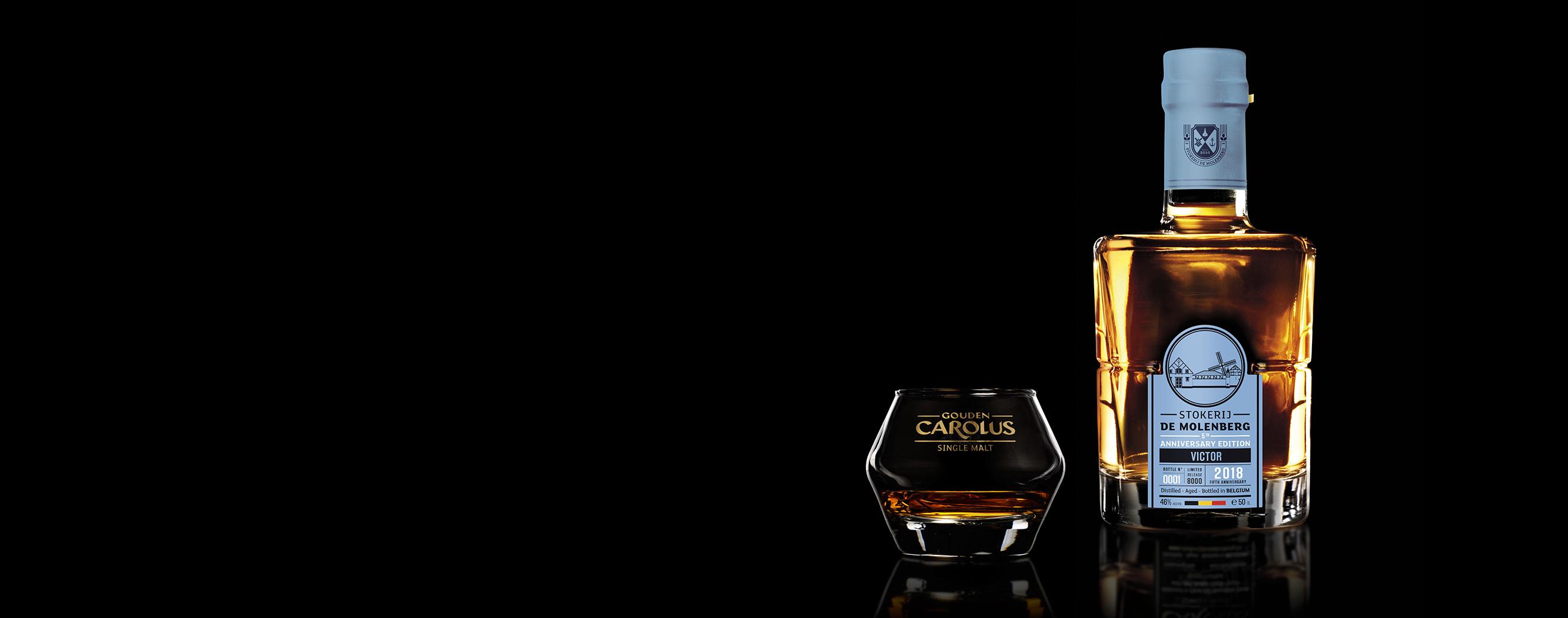Victor (2018) Whisky Stokerij De Molenberg met glas